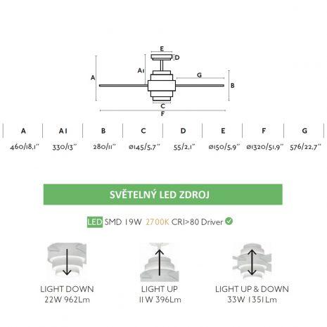 """FARO DISC FAN LED 33397 52"""" bílá/bílá Reverzní stropní ventilátor"""