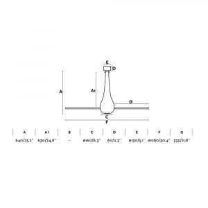 """FARO ETERFAN 32003 50,4"""" matná černá/transparentní Reverzní stropní ventilátor"""