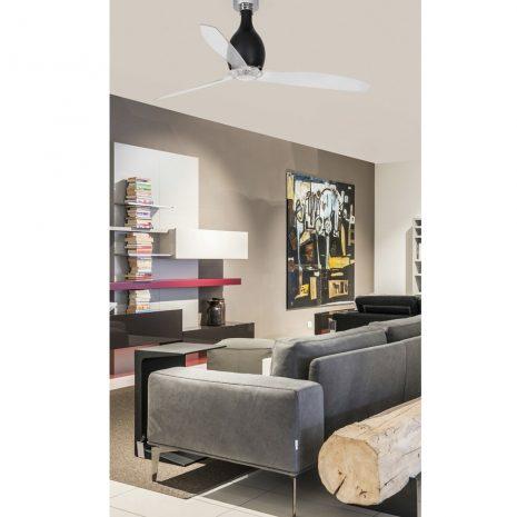 """FARO MINI ETERFAN 32027 50,4"""" matná černá/transparentní Reverzní stropní ventilátor"""