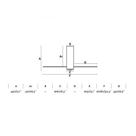 """FARO TUBE FAN 32033 50,4"""" bílá lesk/transparentní Reverzní stropní ventilátor"""