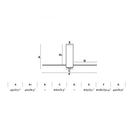 """FARO TUBE FAN 32036 50,4"""" matná černá/transparentní Reverzní stropní ventilátor"""