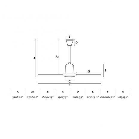 "FARO ECO INDUS 33005 47,2"" bílá Reverzní stropní ventilátor"