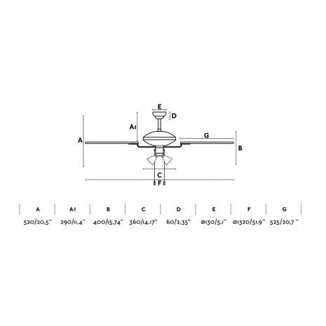 """FARO CORSO 33274 52"""" hnědá/dub/mahagon Reverzní stropní ventilátor"""