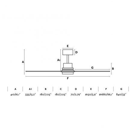 "FARO LANTAU-G 33464 66,1"" matný nikl/tmavý ořech Reverzní stropní ventilátor"
