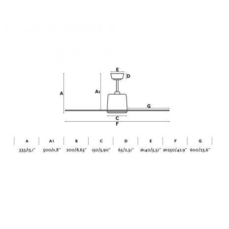 "FARO MOLOKAI 33475 42,9"" matný nikl/tmavý ořech Reverzní stropní ventilátor"