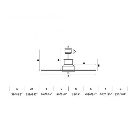 "FARO WINCHE 33482 50"" chrom/tmavé dřevo Reverzní stropní ventilátor"