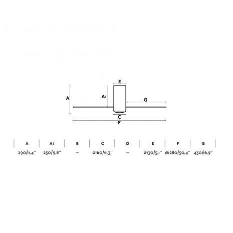 """FARO MINI TUBE FAN 32039 50,4"""" matná bílá/transparentní Reverzní stropní ventilátor"""