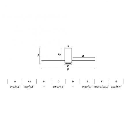 """FARO MINI TUBE FAN 32040 50,4"""" černá lesk/transparentní Reverzní stropní ventilátor"""