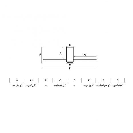 """FARO MINI TUBE FAN 32041 50,4"""" matná černá/transparentní Reverzní stropní ventilátor"""