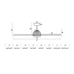 """FARO GRID 33345 52"""" černá/světlé dřevo Reverzní stropní ventilátor"""