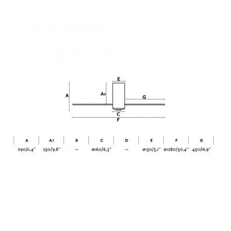 """FARO MINI TUBE FAN 33393 50,4"""" chrom/transparentní Reverzní stropní ventilátor"""