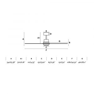 "FARO MINI LANTAU 33508 42"" matný nikl/tmavý ořech Reverzní stropní ventilátor"