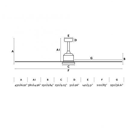 """FARO CIES 33512 83,46"""" bílá/bílá Reverzní stropní ventilátor"""