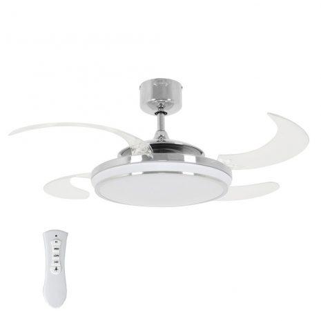 FANAWAY EVO1 LED 211037 48″ chrom/transparentní Reverzní stropní ventilátor