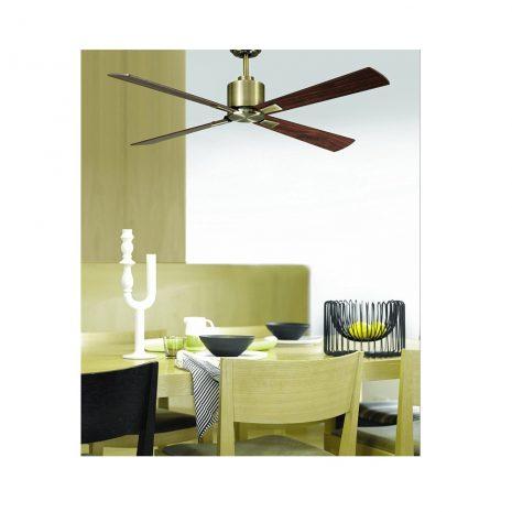 """LUCCI AIR AIRFUSION CLIMATE 210522 52"""" antická mosaz/tmavé dřevo Reverzní stropní ventilátor"""