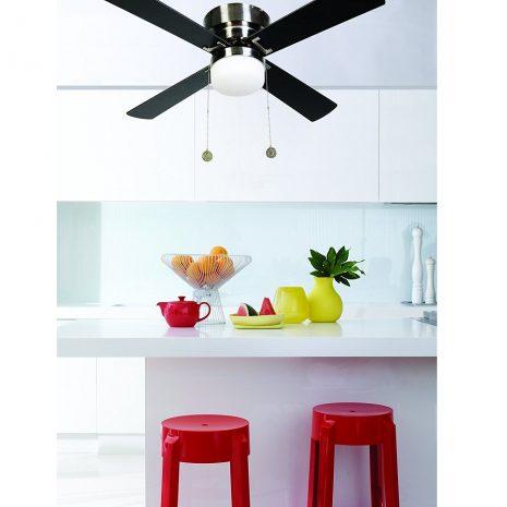 """LUCCI AIR NORDIC 512108 42"""" starožitná mosaz/teak/tmavé dřevo Reverzní stropní ventilátor"""
