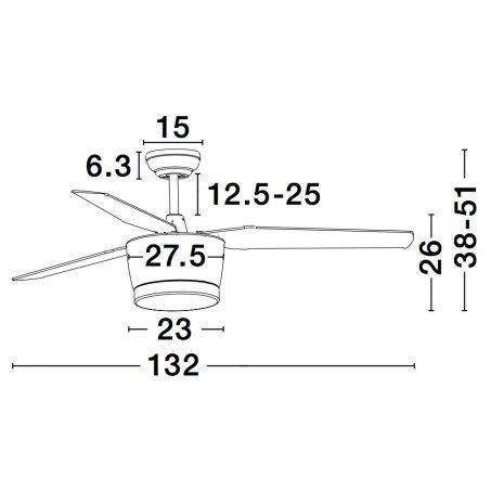"NOVA LUCE MONSOON 5260261 52"" bílá/bílá/dub Reverzní stropní ventilátor"