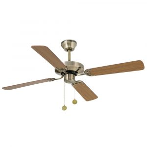 "FARO YAKARTA 33711 47,6"" starožitná mosaz/tmavý dub/bělený dub Reverzní stropní ventilátor"