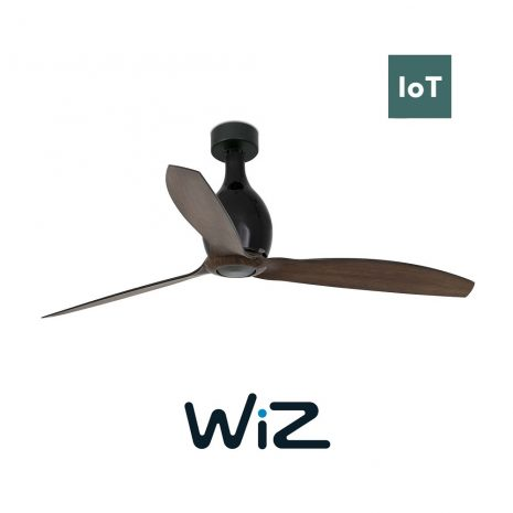 """FARO MINI ETERFAN 32028W 50,4"""" matná černá/tmavé dřevo Reverzní stropní ventilátor WiZ"""