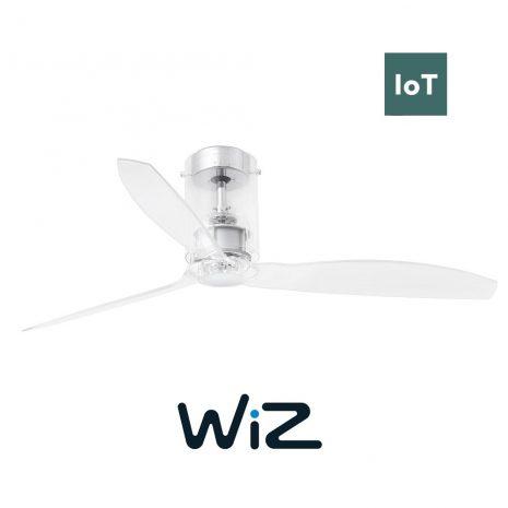 """FARO MINI TUBE FAN 33393W 50,4"""" chrom/transparentní Reverzní stropní ventilátor Wiz"""
