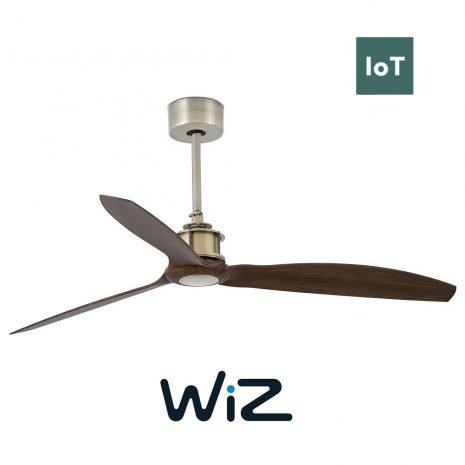 """FARO JUST FAN 33398W 50,4"""" antická mosaz/vlašský ořech Reverzní stropní ventilátor WiZ"""