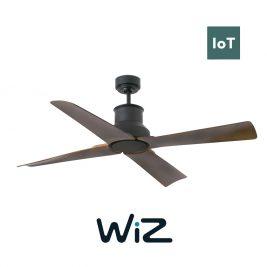 """FARO WINCHE 33481W 50"""" černá/tmavé dřevo Reverzní stropní ventilátor IP44 WiZ"""
