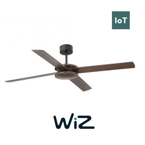 """FARO POLEA 33724 52"""" černá/hnědá/černá Reverzní stropní ventilátor WiZ"""